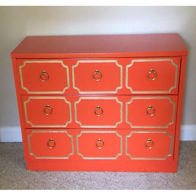 Image of Dorothy Draper Espana Style Orange Chest of Drawers