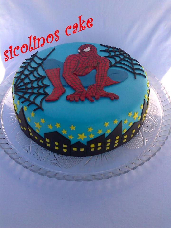 - * spiderman cake decoration with fondant