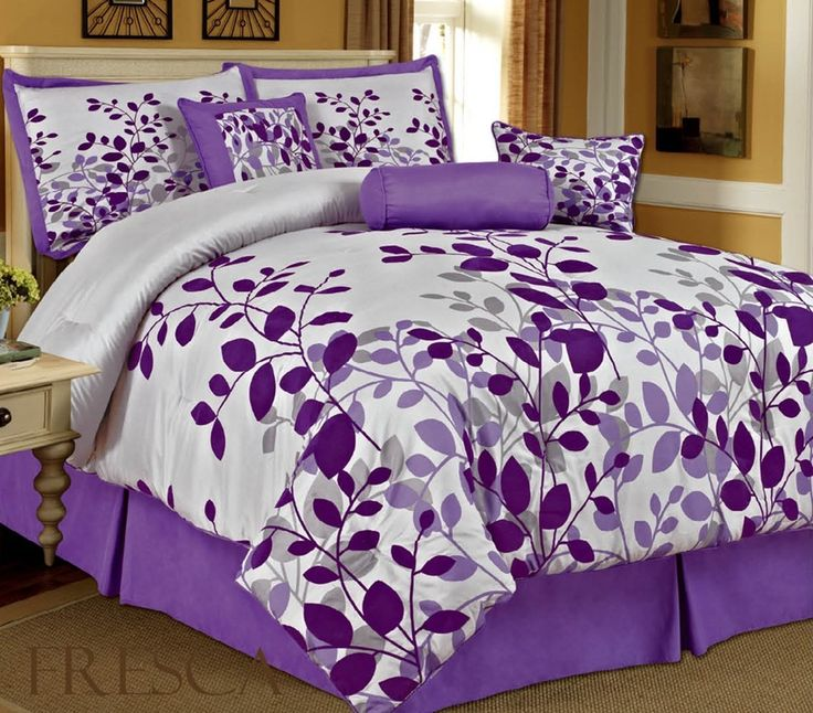 Amazon.com: Bednlinens 7 Piece Queen Fresca Purple Leaves Bedding Comforter Set: Home & Kitchen