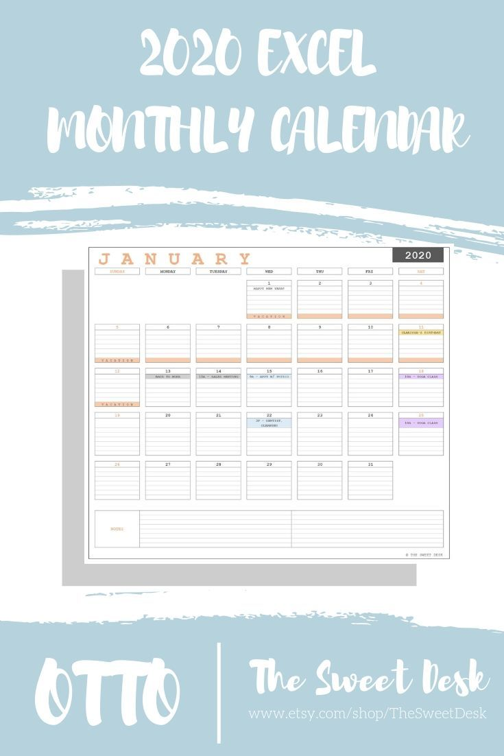 Editable 2020 Excel Yearly Calendar Template Printable Modern