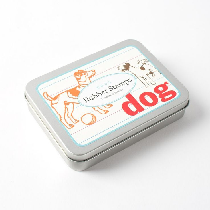 Dog Rubber Stamp Tin by Cavallini & Co. Price $7.98