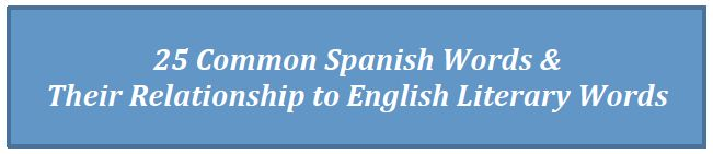 25 Common Spanish Words  Their Relationship to English Literary Words: A list of academic words with its corresponding Latin root, Spanish cognate, and English common word. Great resource to show the relationship of words among different languages.