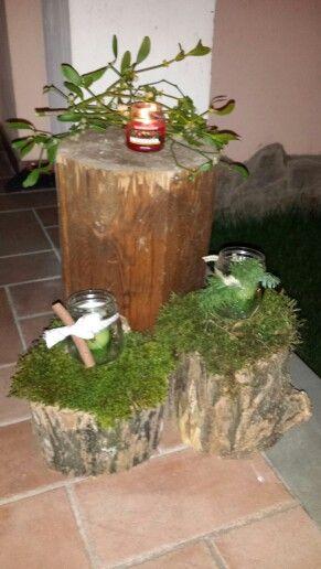 Christmas wood candle creation - creazione natalizia legno candele