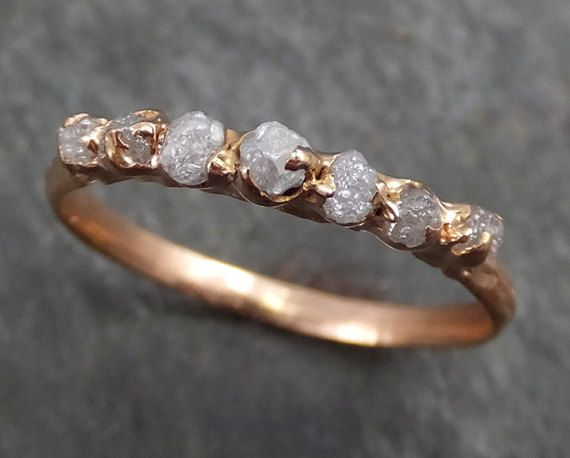 Dainty brut Rose diamant or bague de fiançailles en par byAngeline