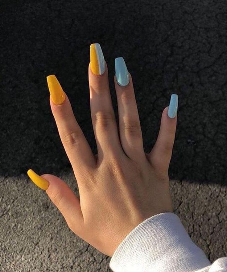 35 Incomparable Summer Coffin Nails Ideas 2019 Yellow Nails Fake Nails Acrylic Nail Designs