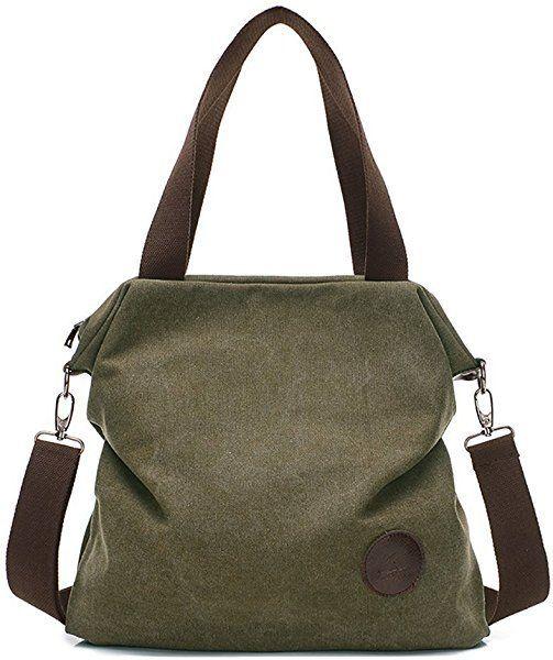 Amazon.com  Mfeo Women Canvas Shoulder Bags Cross-Body Bag Messenger Bag  Tote Bags Handbag (Army Green)  Shoes a528aaa87d