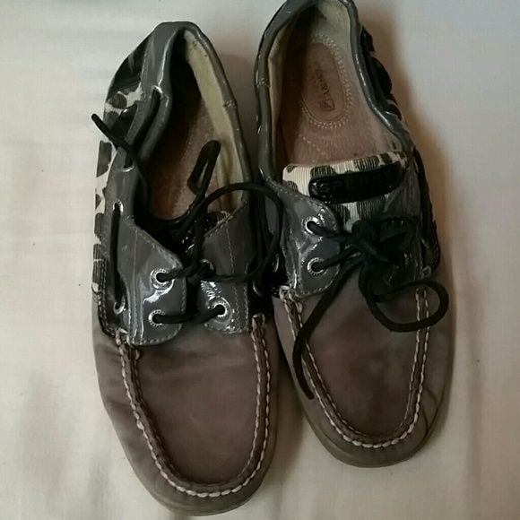 Sperry Top-Sider Grayish-Black Boat Shoes Leopard print on the side. Shoe is grayish-black. Size 9. Good condition. Been in storage and that's why they look a little flattened out. Sperry Top-Sider Shoes