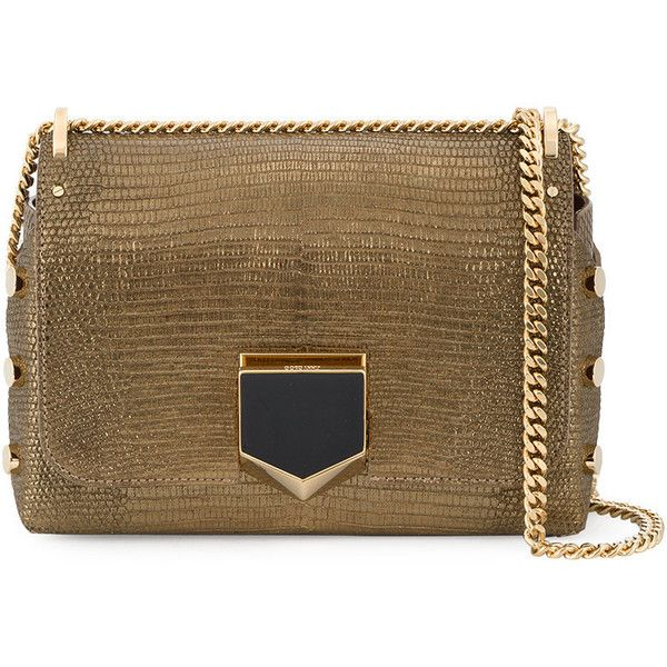 Jimmy Choo Gold Lizard Petite Lockett shoulder bag (1,185 BHD) ❤ liked on Polyvore featuring bags, handbags, shoulder bags, grey, gold handbags, studded purse, studded shoulder bag, chain shoulder bag and metallic shoulder bag