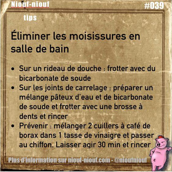 Tips Niouf-niouf : éliminer les moisissures en salle de bain #trucs #astuces… …                                                                                                                                                                                 Plus