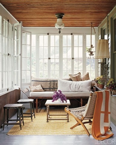 Elegant Stylish Small Sunroom Design With Wooden Ceilings, Cool Classic Lamp, And A  Lovely Minimalist Furniture Set. Cool Decorating Ideas For Interior Sunrooms