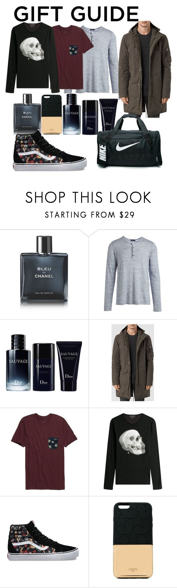 """Men's Gift Guide"" by raquellea ❤ liked on Polyvore featuring Chanel, Vince, Christian Dior, AllSaints, Rip Curl, Alexander McQueen, Vans, Ports 1961, NIKE and men's fashion"