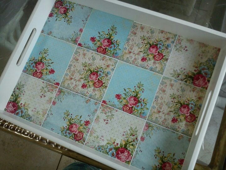 Decoupage tray: repeated image for a quilted look on bottom of the painted tray. I like it.