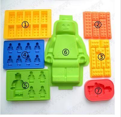 Nuevos Agujeros Lego Mini Figura Robot Cubito de Hielo Del Molde Pastel de Chocolate de La Jalea Moldes de Pasta de Azúcar Del Molde de Silicona Jello Herramientas de La Torta N543
