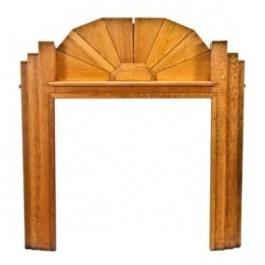Highly unique and rare c. 1930's art deco style varnished oak wood fireplace mantel. #industrialdesign #vintage #antique #chicago #fireplace #artdeco