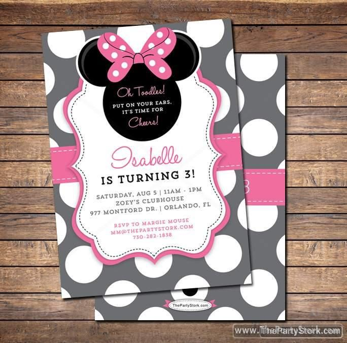 Minnie Mouse Birthday Invitations | Printable Girls Party Invitation | Grey Pink Black Polka Dots | See our Shop for Minnie Decorations by thepartystork on Etsy https://www.etsy.com/listing/197982540/minnie-mouse-birthday-invitations