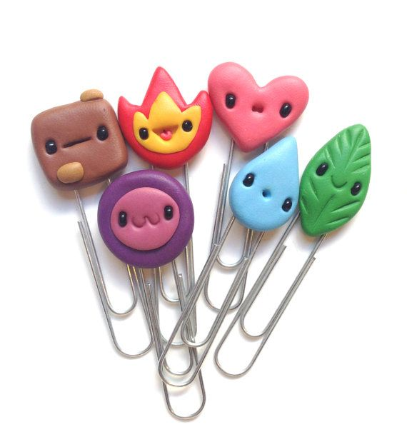 Kawaii Paper Clips Set Colorful Set of Six Paper Clips, for School or the Office Kawaii style - bright up your papers! Size: H 2.5 W 0.3 *This
