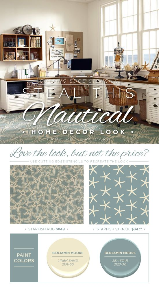 A DIY stenciled nautical rug using the Starfish Stencil. http://www.cuttingedgestencils.com/starfish-stencil-beach-decor.html