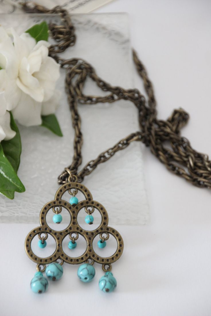 Autumn Offer of 15% discount.Long, bronze necklace with an turquoise blue boho pendant. by 4Dignity on Etsy