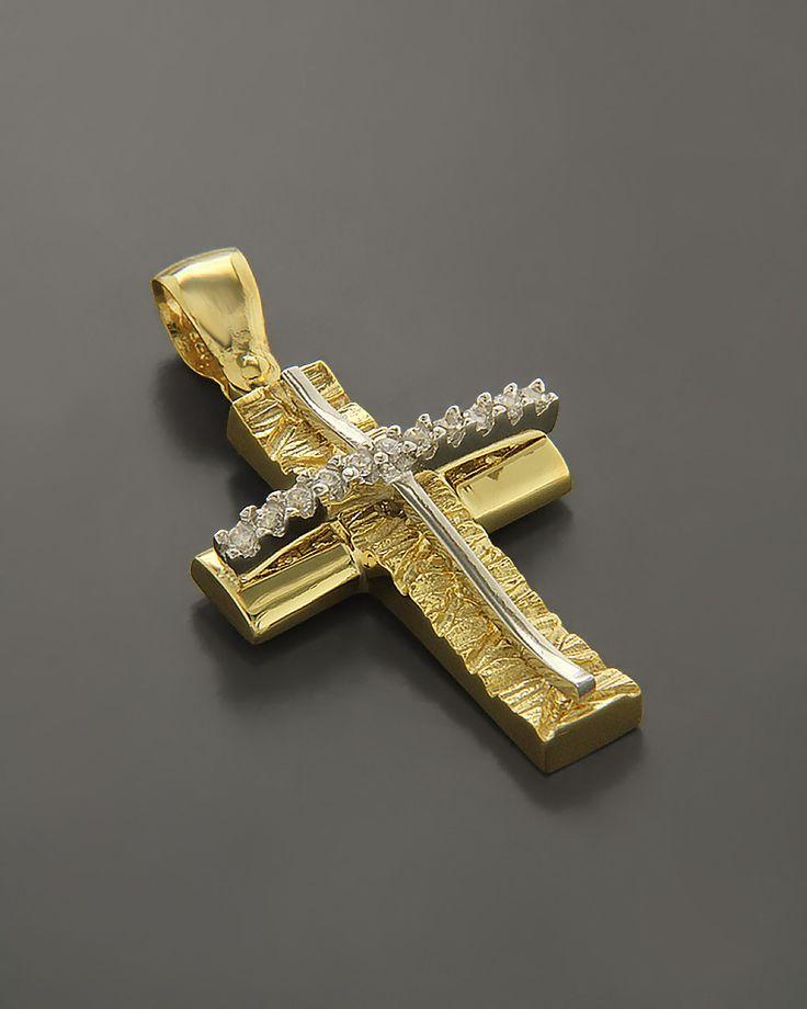 Σταυρός βάπτισης Χρυσός & Λευκόχρυσος Κ14 με Ζιργκόν | eleftheriouonline.gr