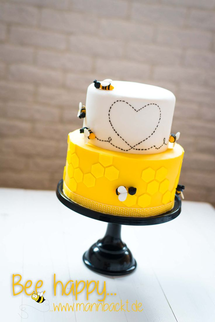 Bee happy… die Torte mit der Biene Honey bee cake heart wedding shower bumble bee