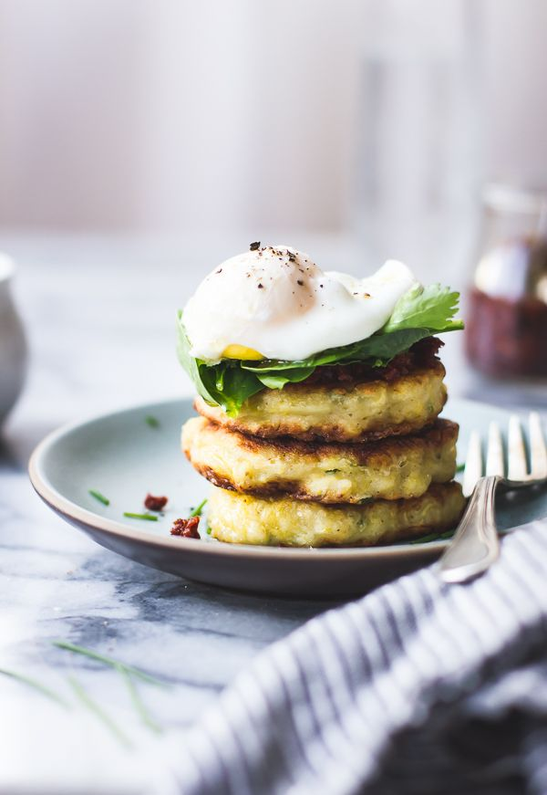 Savory Spaghetti Squash Cakes with Poached Eggs & Harissa {Gluten-Free} via @bojongourmet  | from the Smitten with Squash cookbook