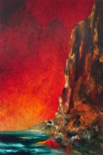 Title: 'Red Skies' 36'' x 24'', on wood panel. Euro 790, unframed