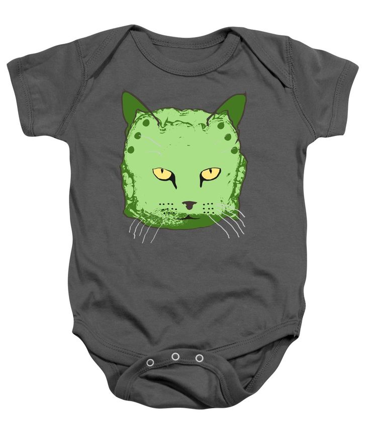 Cute Baby Onesie featuring the mixed media Cloth Diaper Cat In Green by Sverre Andreas Fekjan