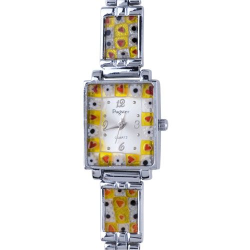 Watches - orange red flower encircled millefiori watch murano glass gift women watch Image.