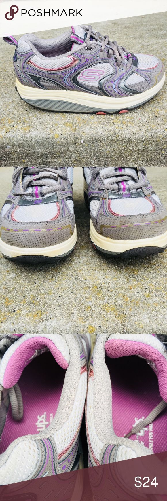 """Skechers Shape Ups Fitness Purple Gray Running Skechers Shape Ups Fitness Running Walking Synthetic Mesh Toe to Heel:9 1/2 """"Width Approx: 3 3/4 """"Heel Height: 1 1/2  """" Great pre-owned condition. Shoes show some wear from normal used and slightly stain on tip of shoes see last pic.  Please view all photos for details carefully before purchased. These are part of the description and contact if you have further questions.  We washed, scrubbed, cleaned, and disinfected before list for sale.  From…"""