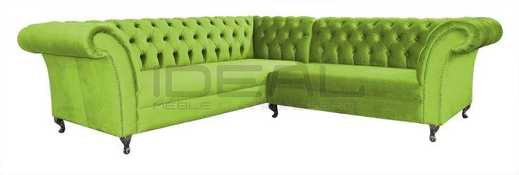 Cudowny jasno zielony narożnik Chesterfield (green Chesterfield Corner sofa) Sofy Stylowe - Narożnik Chesterfield Avon Ludwik - Ideal Meble