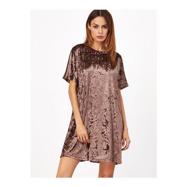 SheIn(sheinside) Brown Short Sleeve Velvet Shift Dress (21 BAM) ❤ liked on Polyvore featuring dresses, brown, velvet dress, short dresses, summer shift dresses, shift dress and t shirt dress