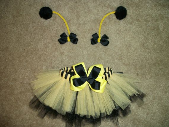 Bumblebee tutu costume with antenna bows custom by CatyRoseBows, $26.00Tutu Costumes, Bumblebee Tutu, Bumble Bees