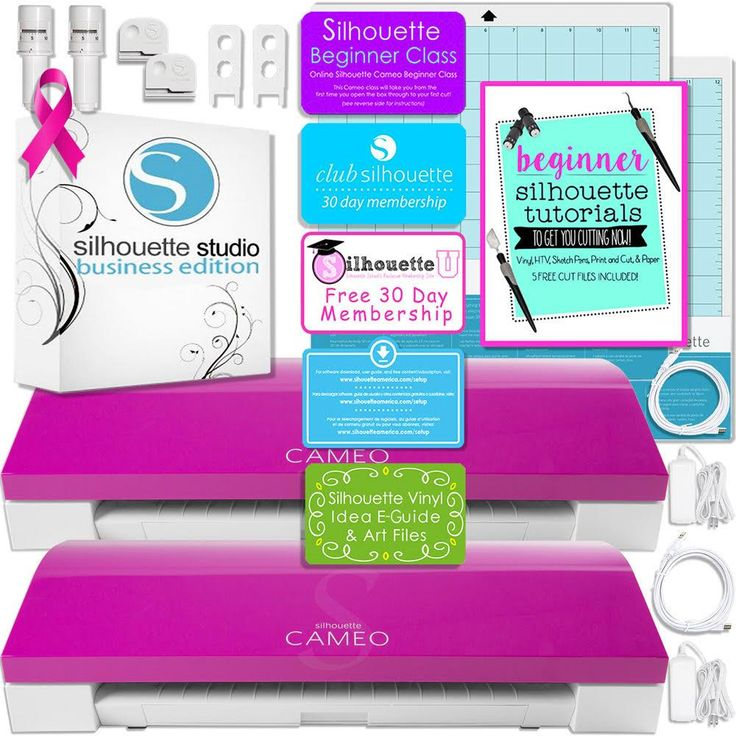Silhouette Pink Cameo 3 Bluetooth Business Bundle with TWO Cameo Machines and Silhouette Business Software