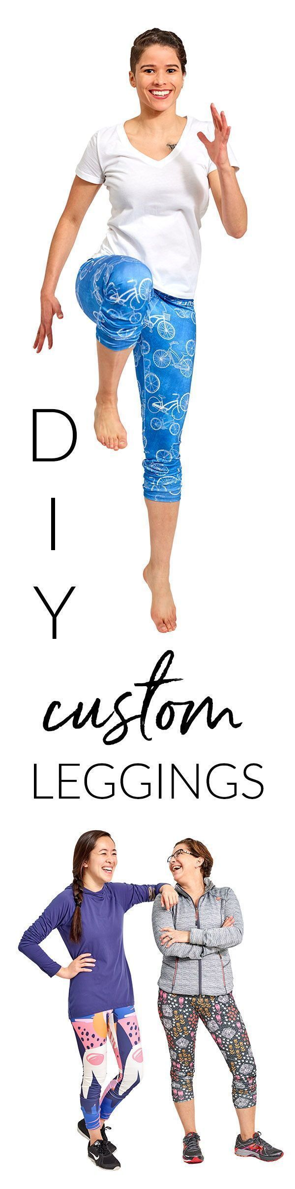 DIY Custom Cut & Sew Leggings - Make these easy DIY cut & sew leggings in a few easy steps. All you need is a pair of scissors and a sewing machine to make your very own custom printed leggings featuring the patterns and colors of your choice. Choose from thousands of designs in the Spoonflower Marketplace, or use your own design! Click to see the steps in this easy to follow video. #sewingtutorial #diy #sewingtips #leggings #sewing #ilovetosew #sew #sewit #makeyourclothes