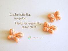 Mariposas Amigurumi - Patrón Gratis en Español y en Inglés aquí: http://chabepatterns.com/free-patterns-patrones-gratis/amigurumi/crochet-butterflies-mariposas-a-ganchillo/ #crochet #butterfly #butterflies #amigurumi #tiny #keychain