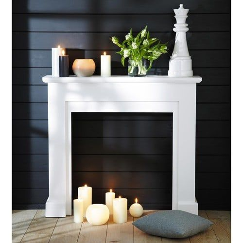 Manteau de cheminée décoratif blanc