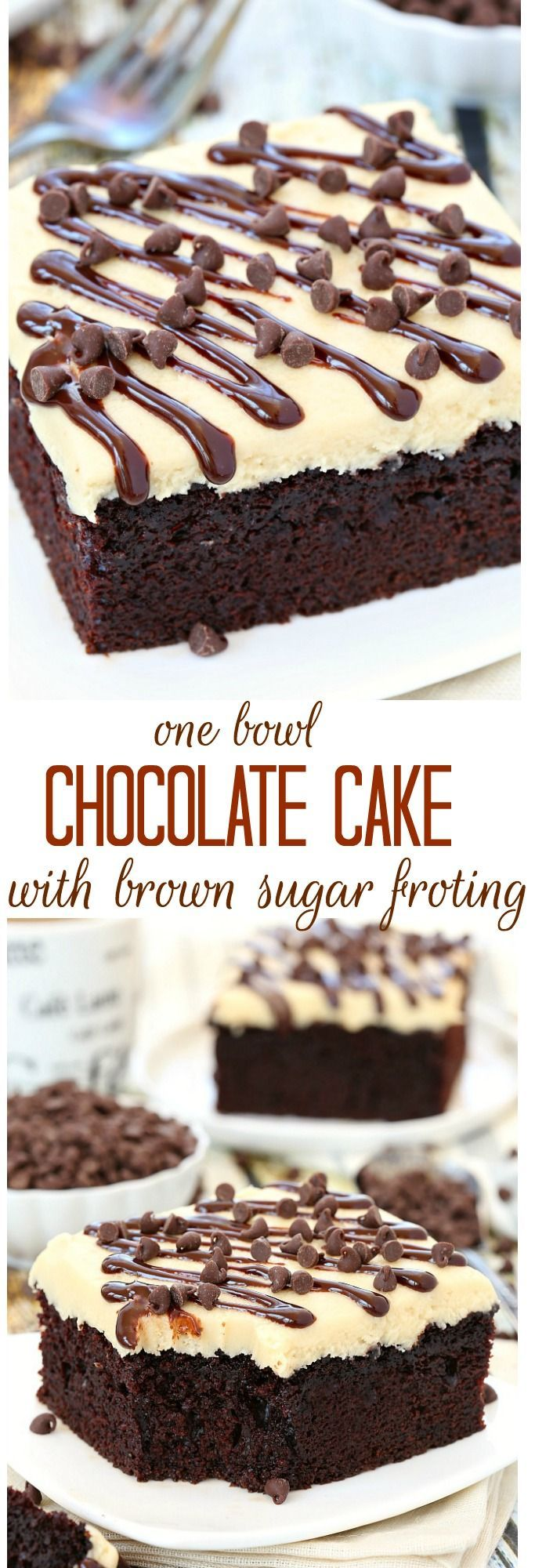 With just a handful of ingredients, this no fuss one bowl chocolate cake will quickly become one of your favorites! Top with a layer of brown sugar frosting or serve with a scoop of your favorite ice cream!