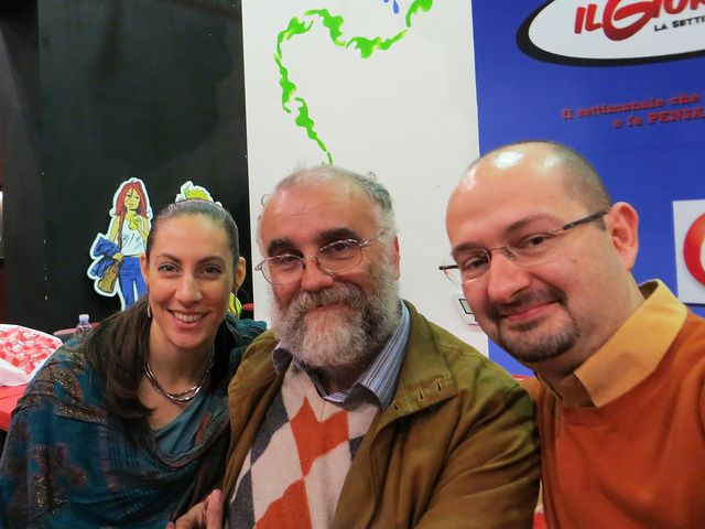 Lucca Comics 2013 - Mostra Herr Kompositor - Scrivi una canzone! al Museo del Fumetto. Nella foto, Laura Pederzoli, Angelo Nencetti e P. Alessandro Polito