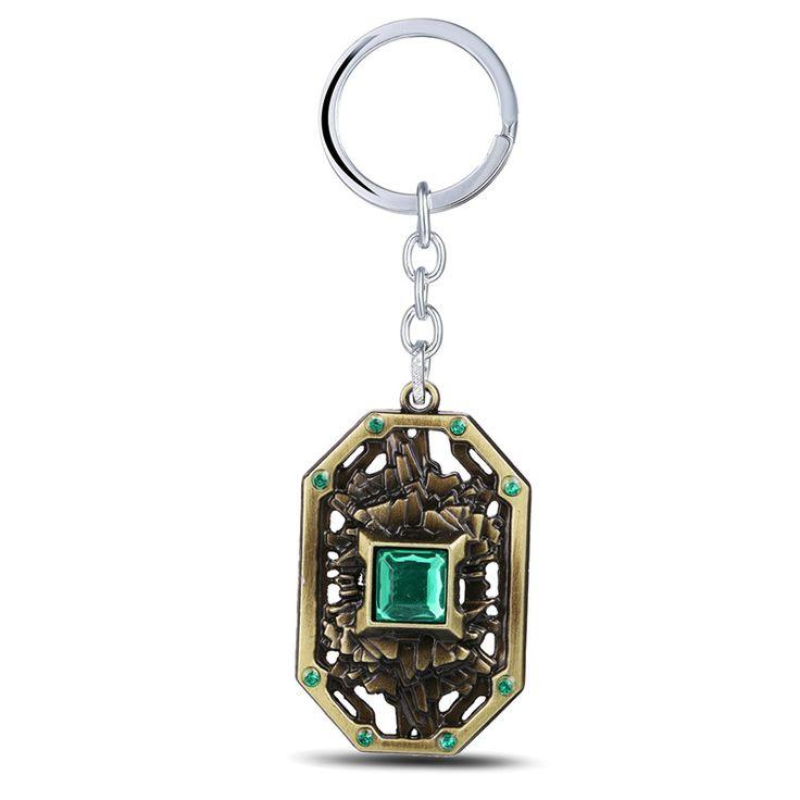 Julie 5x3.3cm Dota 2 Earth Spirit Storm Spirit Metal Keychains Pendant Key Chain Key Ring Copper Plated Men jewelry bag Gift