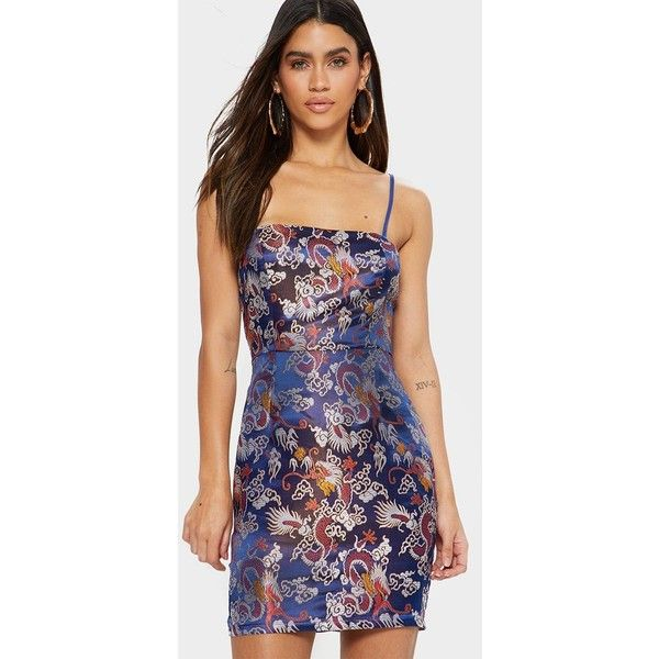 Blue Printed Oriental Satin Bodycon Dress ($33) ❤ liked on Polyvore featuring dresses, blue, blue color dress, print dress, bodycon dress, blue pattern dress and patterned bodycon dress