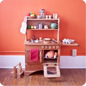 Camden Rose A Simple Hearth Childs Cherry Wood Play Kitchen With Hutch