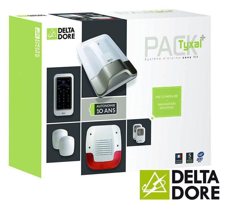 Ce pack alarme Tyxal+ est fourni avec la box domotique Tydom 1.0. Le pack comprend aussi deux détecteurs de mouvement avec deux lentilles de détection interchangeables compatibles avec la présence d'animaux. La gamme Delta Dore Tyxal+ dispose de la certification alarme NFA2P 2 boucliers.