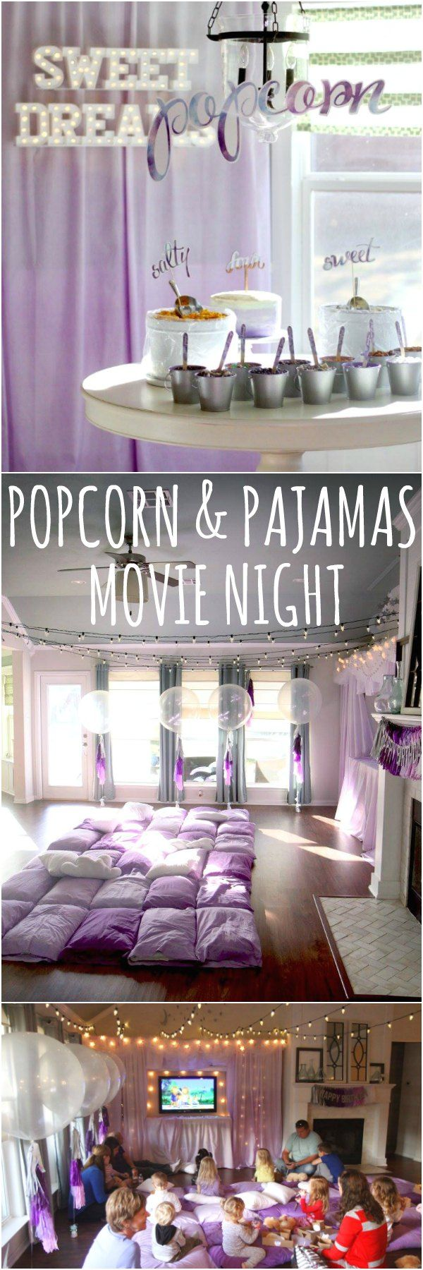 Cutest POPCORN & PAJAMAS movie night birthday party for kids a little too young for sleepovers. Favors were flashlights and teddy bears. Too cute!
