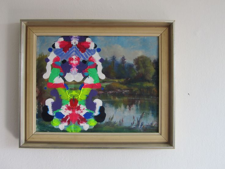 Abstract painting on old landscape painting inpired by kids artwork.