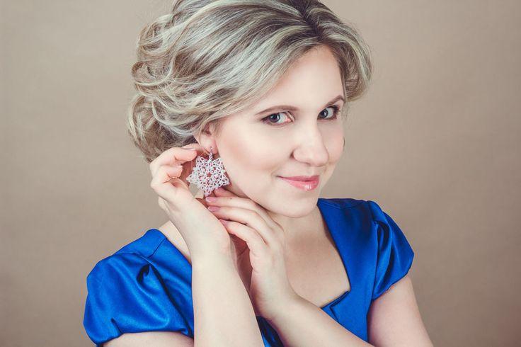 """Купить """"Русские сезоны"""" - свадебные серьги - белый, свадебные украшения, свадебные серьги, белые серьги"""