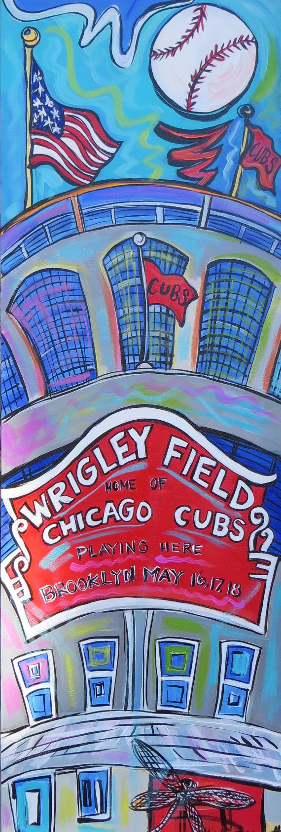 Wrigley Field - A 12x36 Inch Original Acrylic Painting on Canvas on Etsy, $249.00