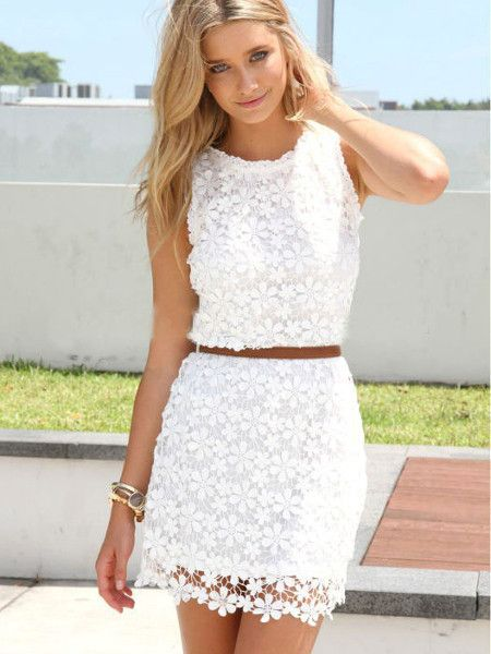 Sweet Package Hip Vest Lace Crochet Mini Dress