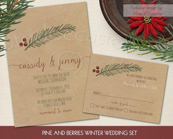 50 christmas wedding invitations winter wedding pinterest