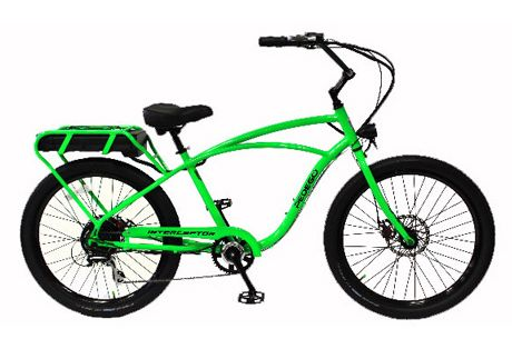 Classic Interceptor Lime Green with Black Rims- Designed for use by police departments, the Interceptor fuses the cool, comfortable designs of our regular Comfort Cruiser with the power of a 48 volt electric drive system. What does that mean for you? Increased torque and power for those individuals who desire extra help getting up hills.