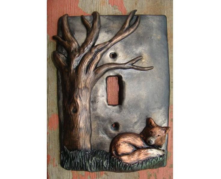 fox tree polymer clay light switch cover lightswitch plate metallic